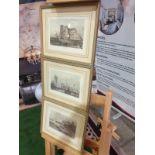 A set of 3 framed coloured prints river scenes titled Der Rhein/The Thames/La Seine each framed in