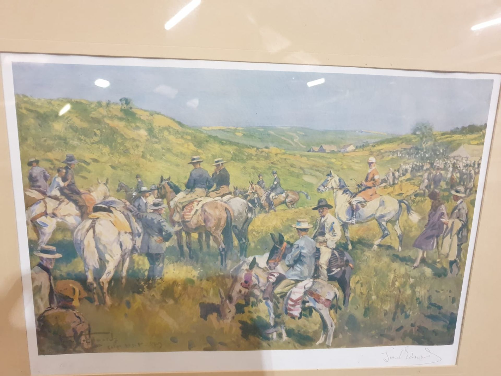 Framed signed print The Royal Calpe Hunt Point-to-Point Meeting - On the right Col. Price-Davis - Image 6 of 8