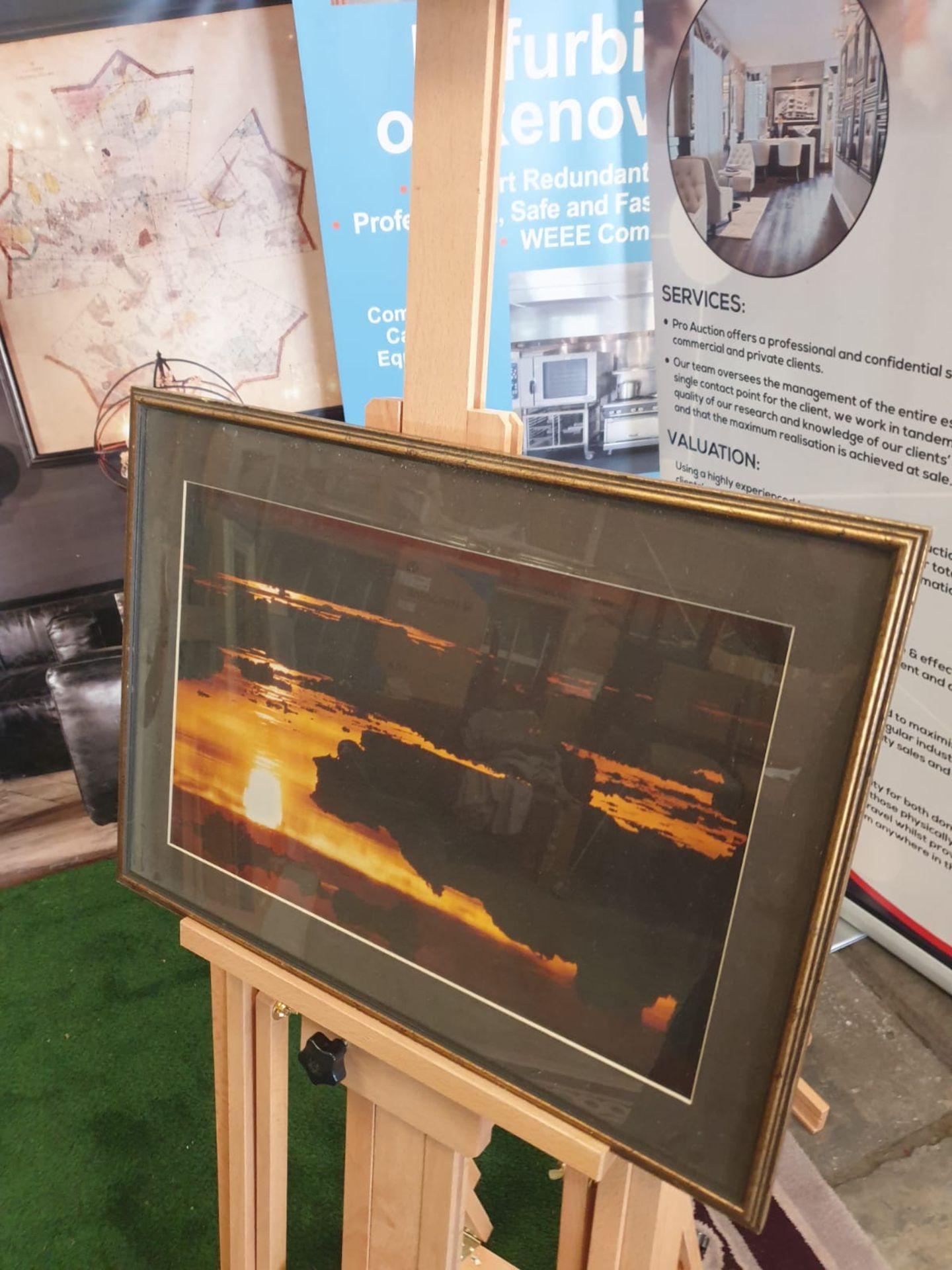 A modern framed print Horizon landscape in Gold frame 56 x 41cm - Image 2 of 3
