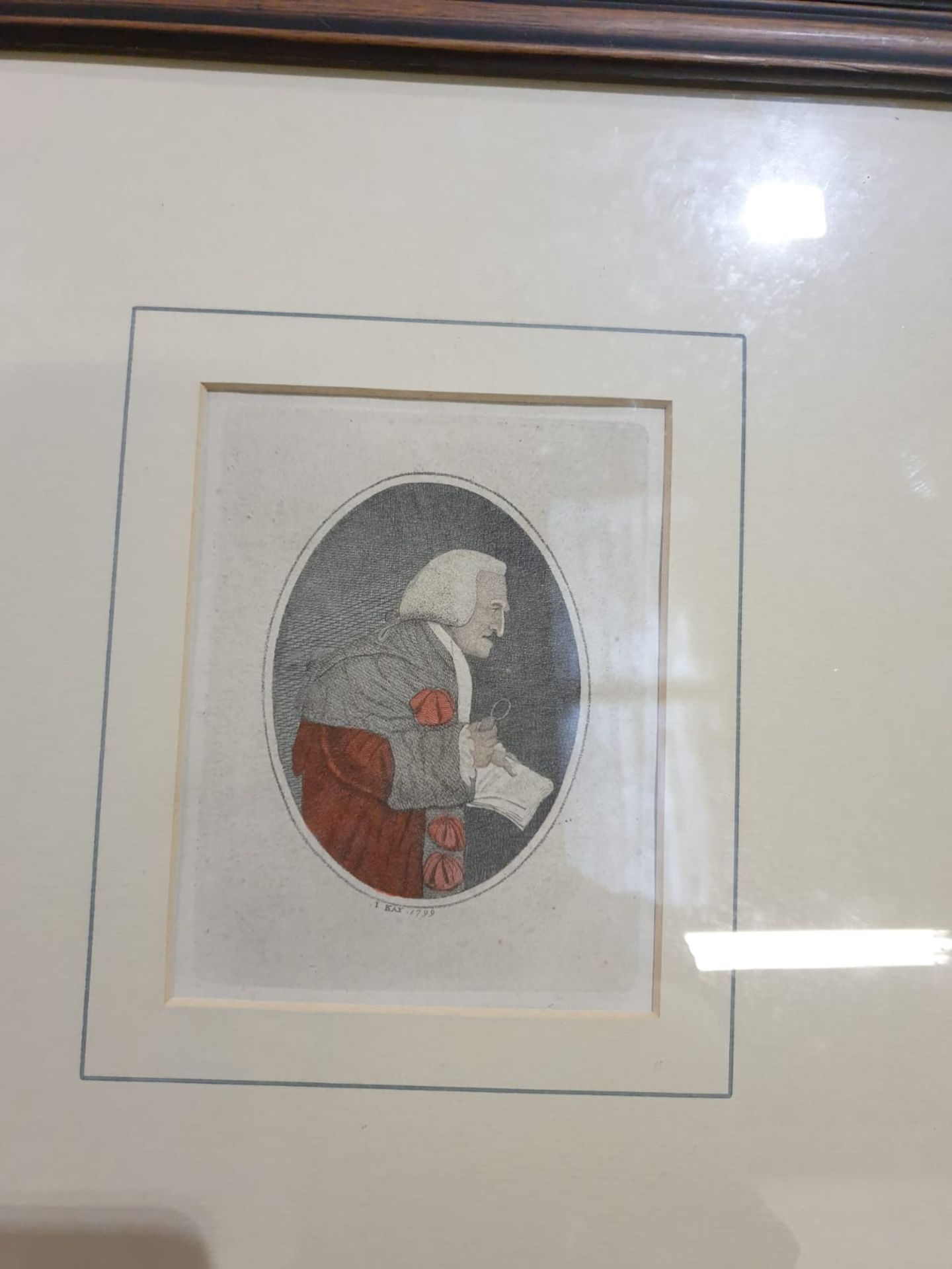 A set of 4 framed John Kay coloured prints of etchings Law gentlemen Lord Balmuto by John Kay, 1799, - Image 3 of 5