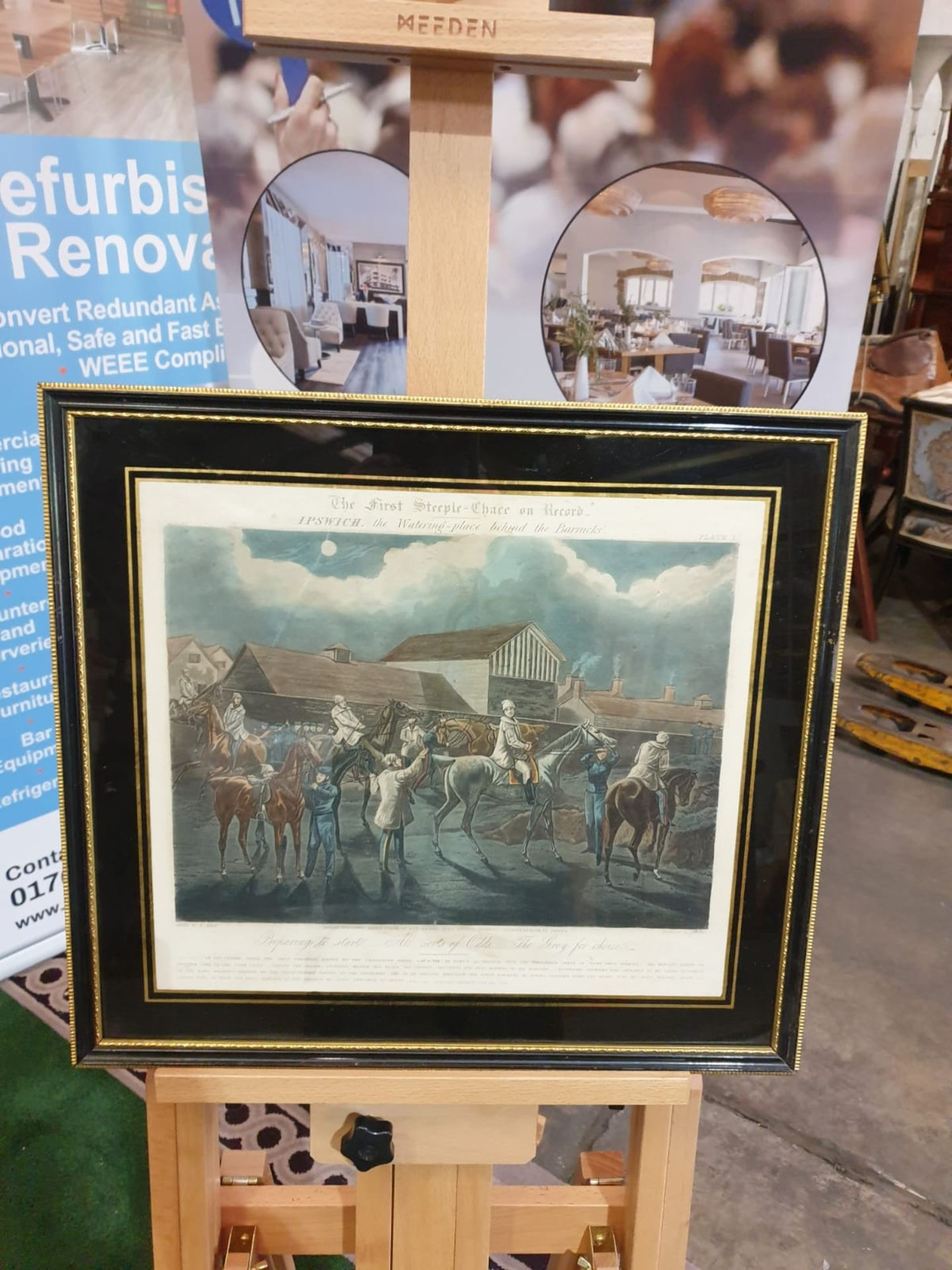 Framed vintage print .The First Steeplechase on Record - Ipswich, the watering place behind the