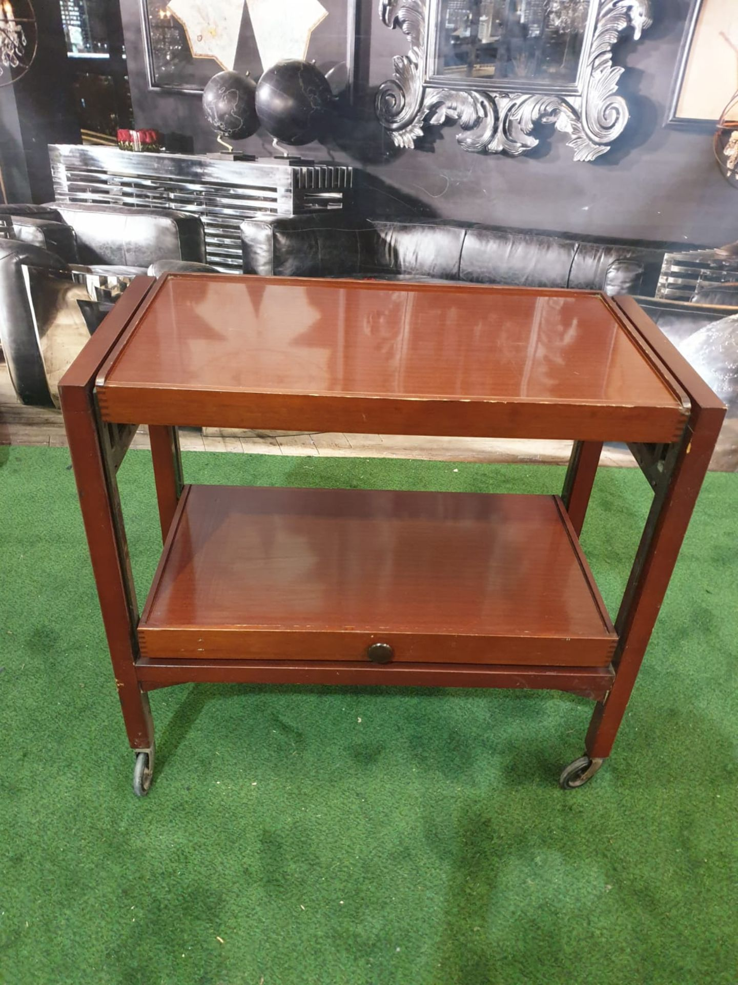 A teak adjustable serving trolley / gueridon The lower tier rising to form a double section upper - Image 5 of 5
