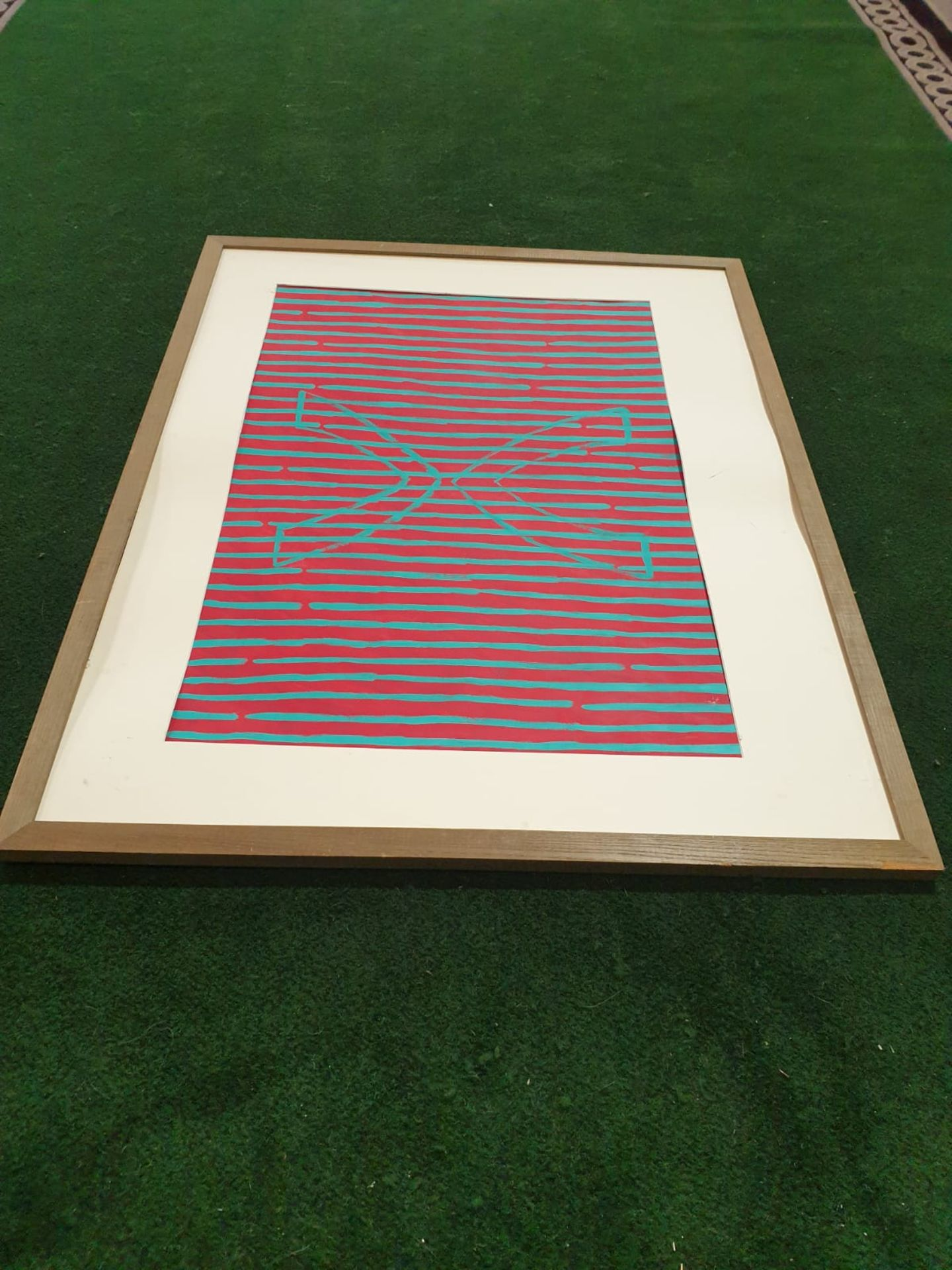 Framed without glass Modern art Red/Blue stripes. Vee and inverted Vee. Whiteford 1991 122 x 96cm