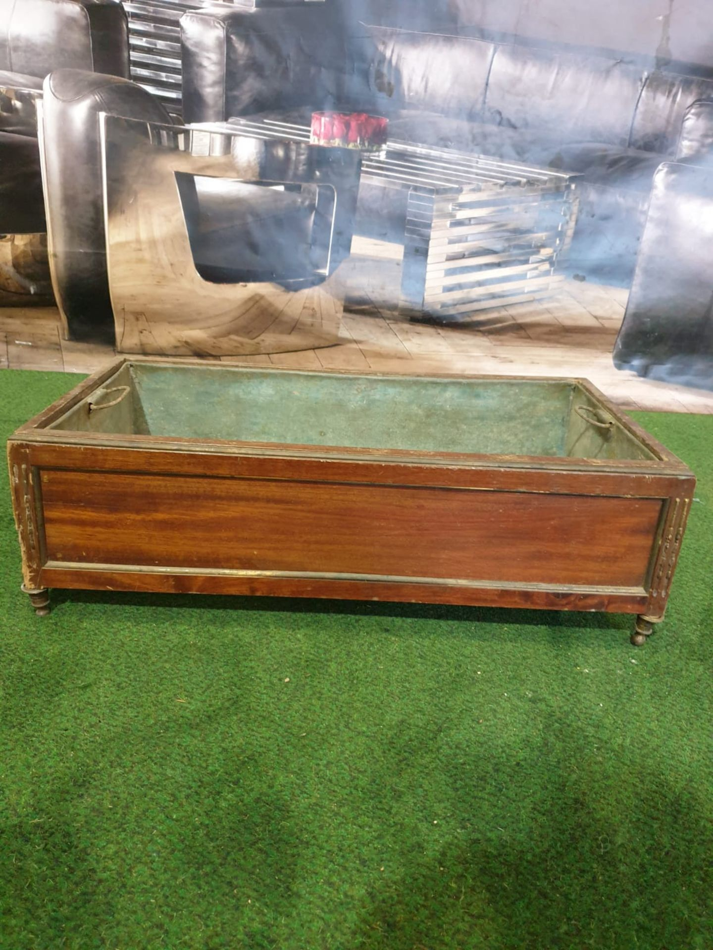 A Regency style Inlaid Mahogany Planter trough with original metal insert on shaped bun feet 65 x 35 - Image 4 of 4