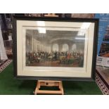 A framed coloured print Intellect and Valour of Britain--engraving of 1864 Thomas Jones Barker,