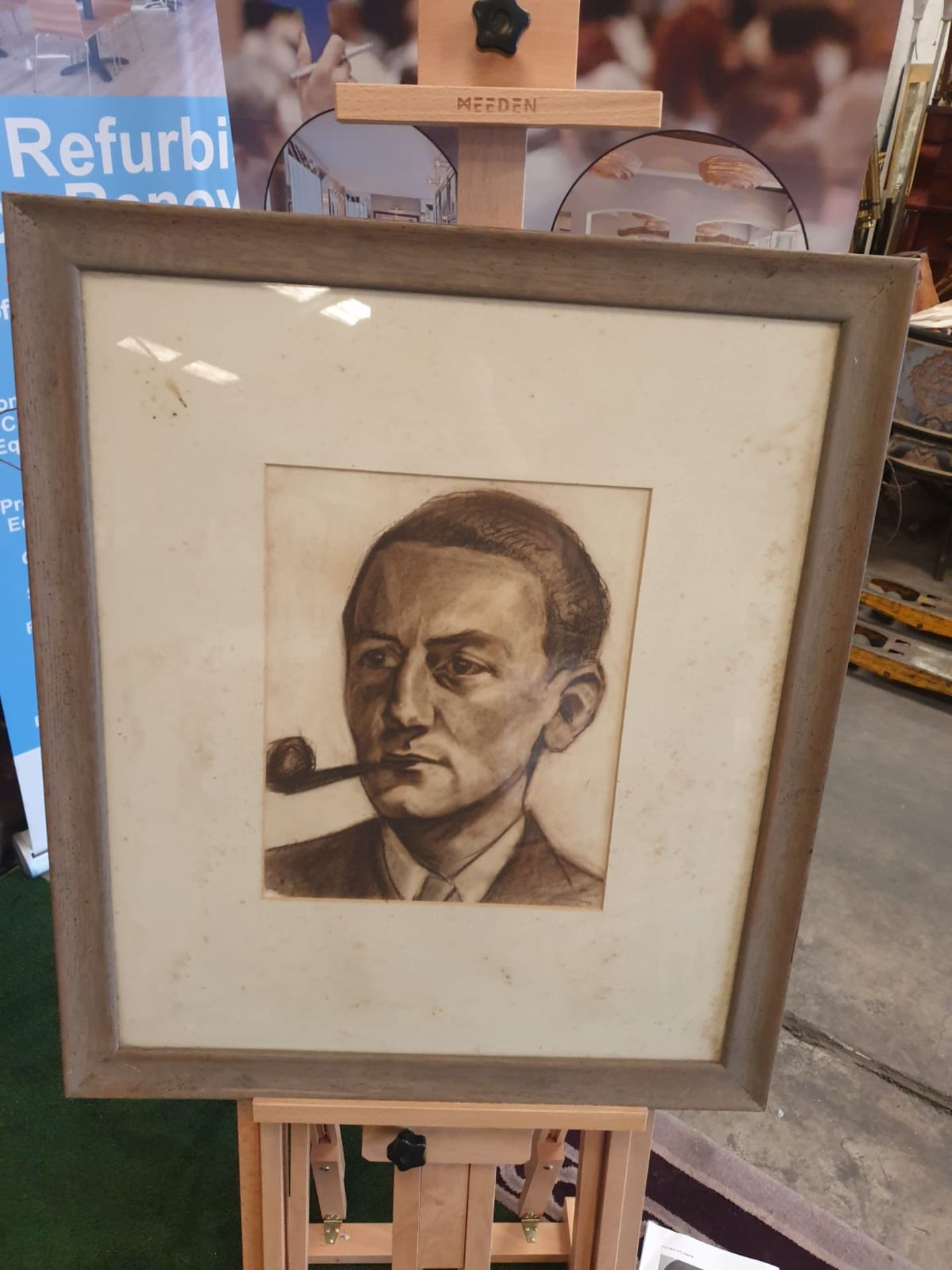 Framed portrait drawing charcoal and pencil of male sitter with pipe. 67 x 78cm - Image 3 of 3