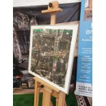 Framed Multi coloured abstract photoprint artwork 63 x 63cm