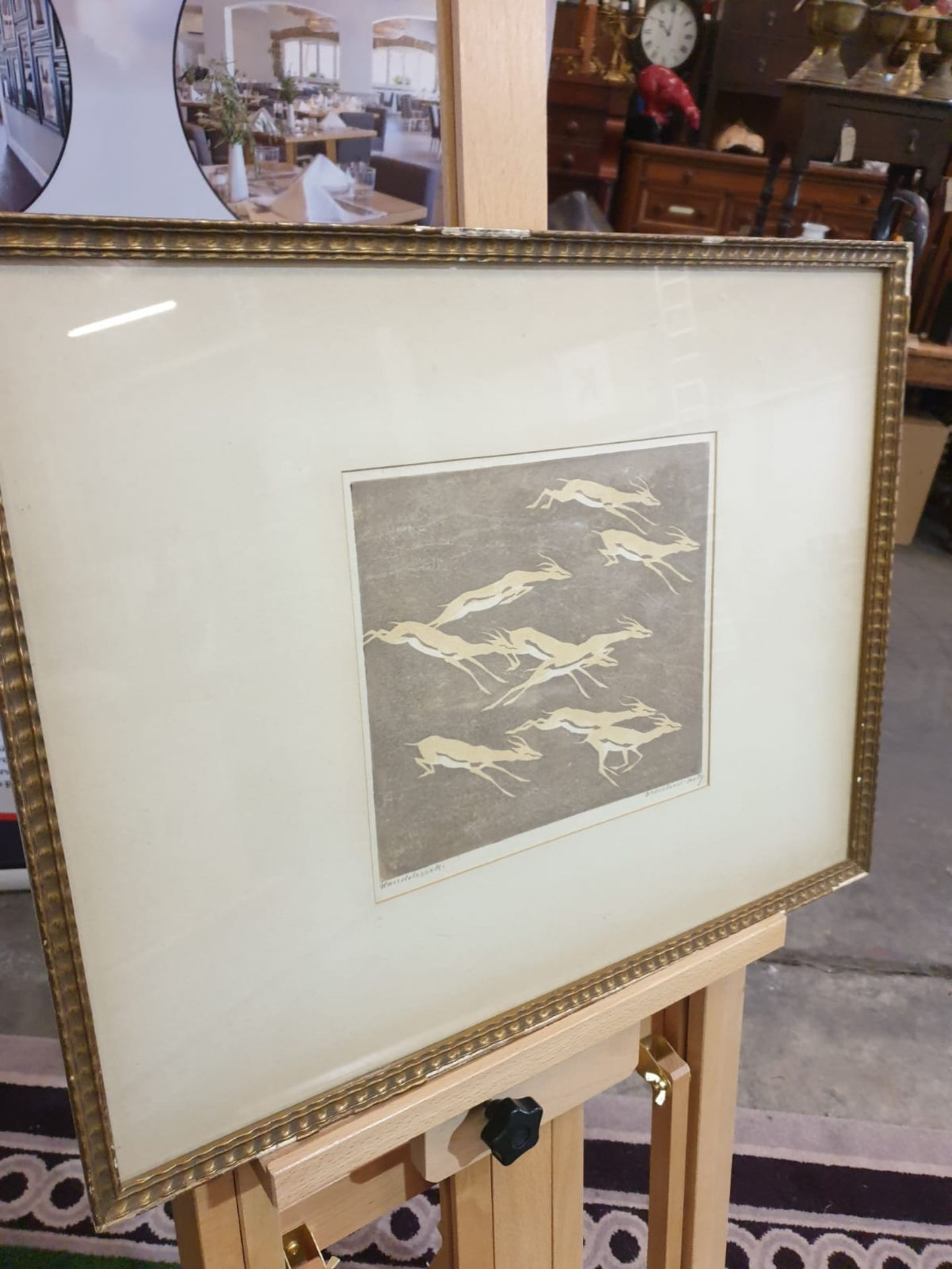 Line cut print multiple by Von Bresslern - Roth 1891-1978 Gazelles c. Circa 1920 Height 55 cm; - Image 3 of 5