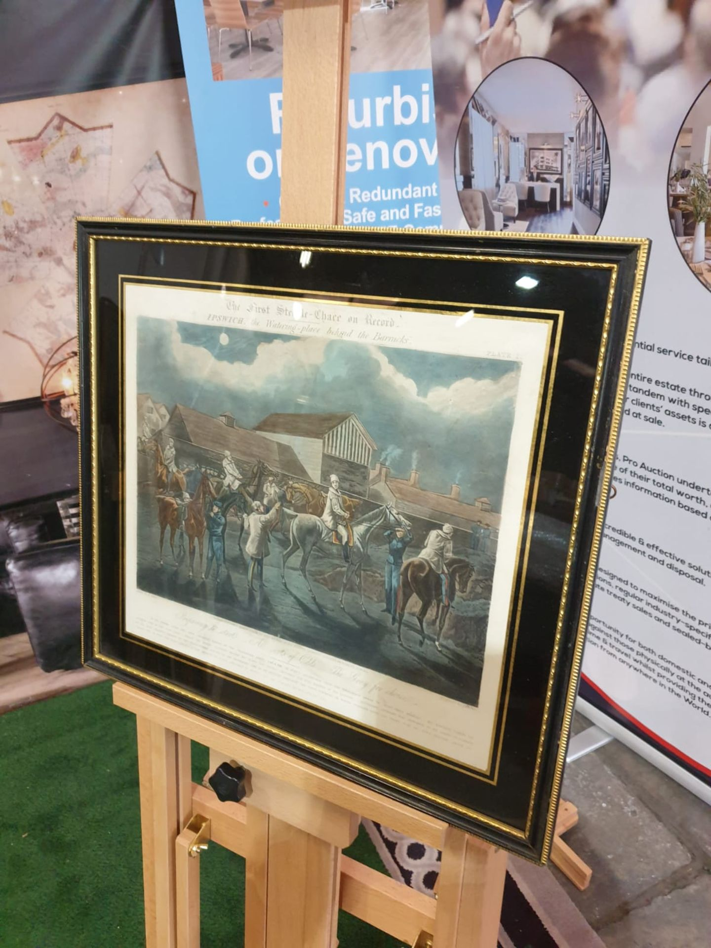Framed vintage print .The First Steeplechase on Record - Ipswich, the watering place behind the - Image 2 of 6