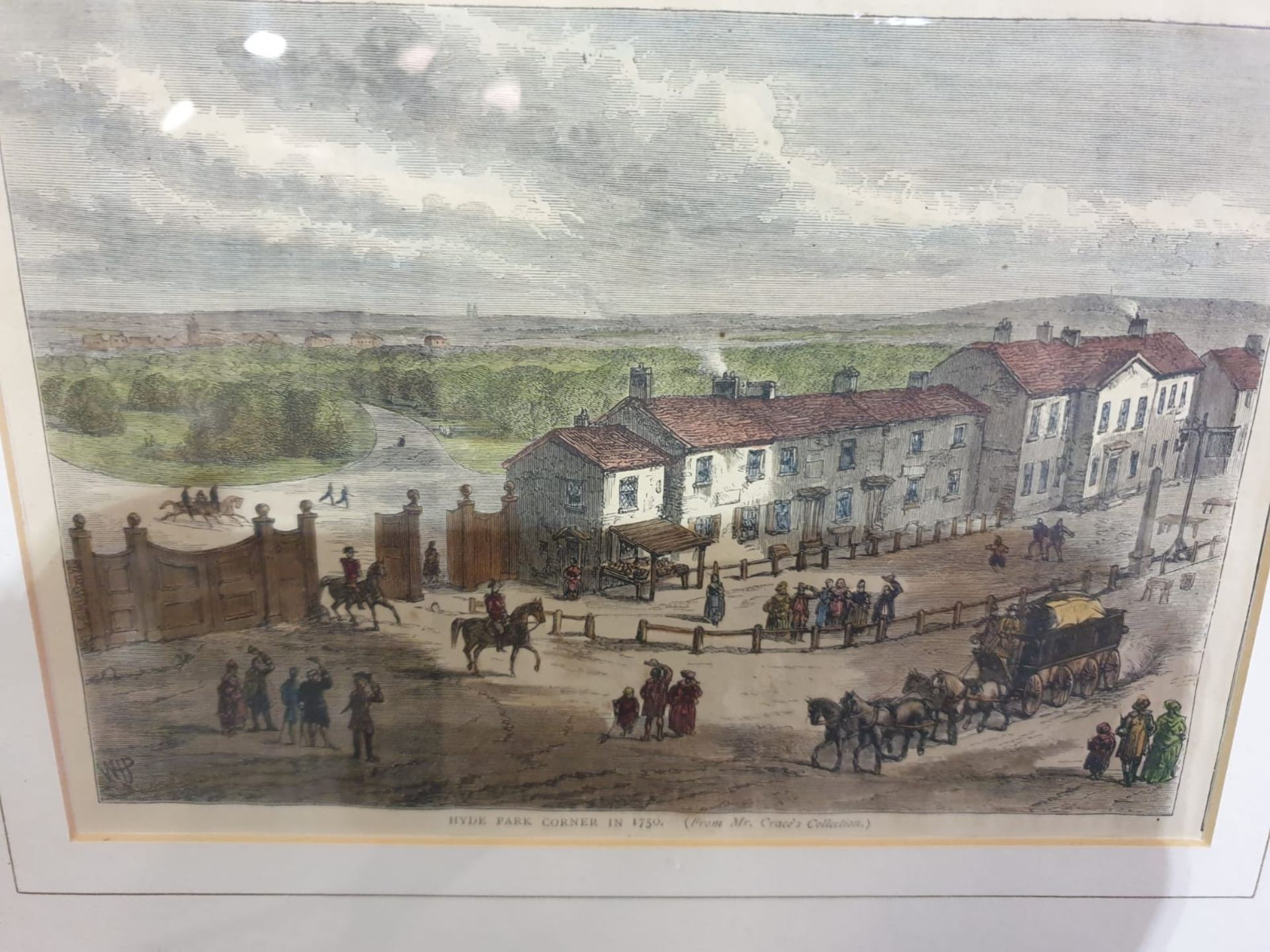 A set of 2 framed coloured lithographs APSLEY HOUSE AND PARK LANE. HYDE PARK CORNER IN 1750. - Image 5 of 5