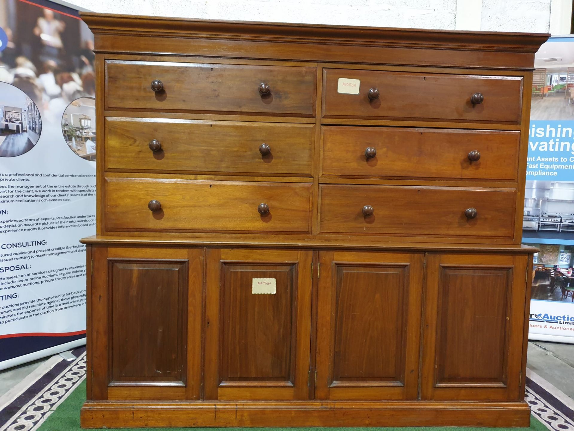 A late Victorian / early Edwardian mahogany chest combined chest of drawers and cupboard. The - Image 2 of 5