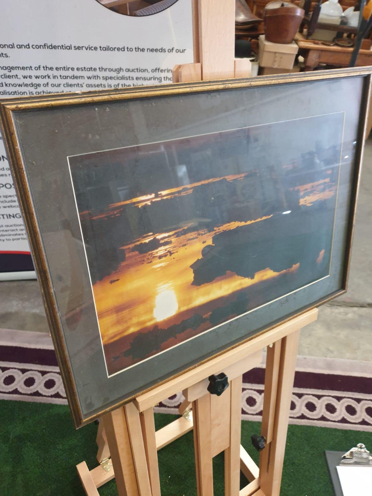 A modern framed print Horizon landscape in Gold frame 56 x 41cm - Image 3 of 3