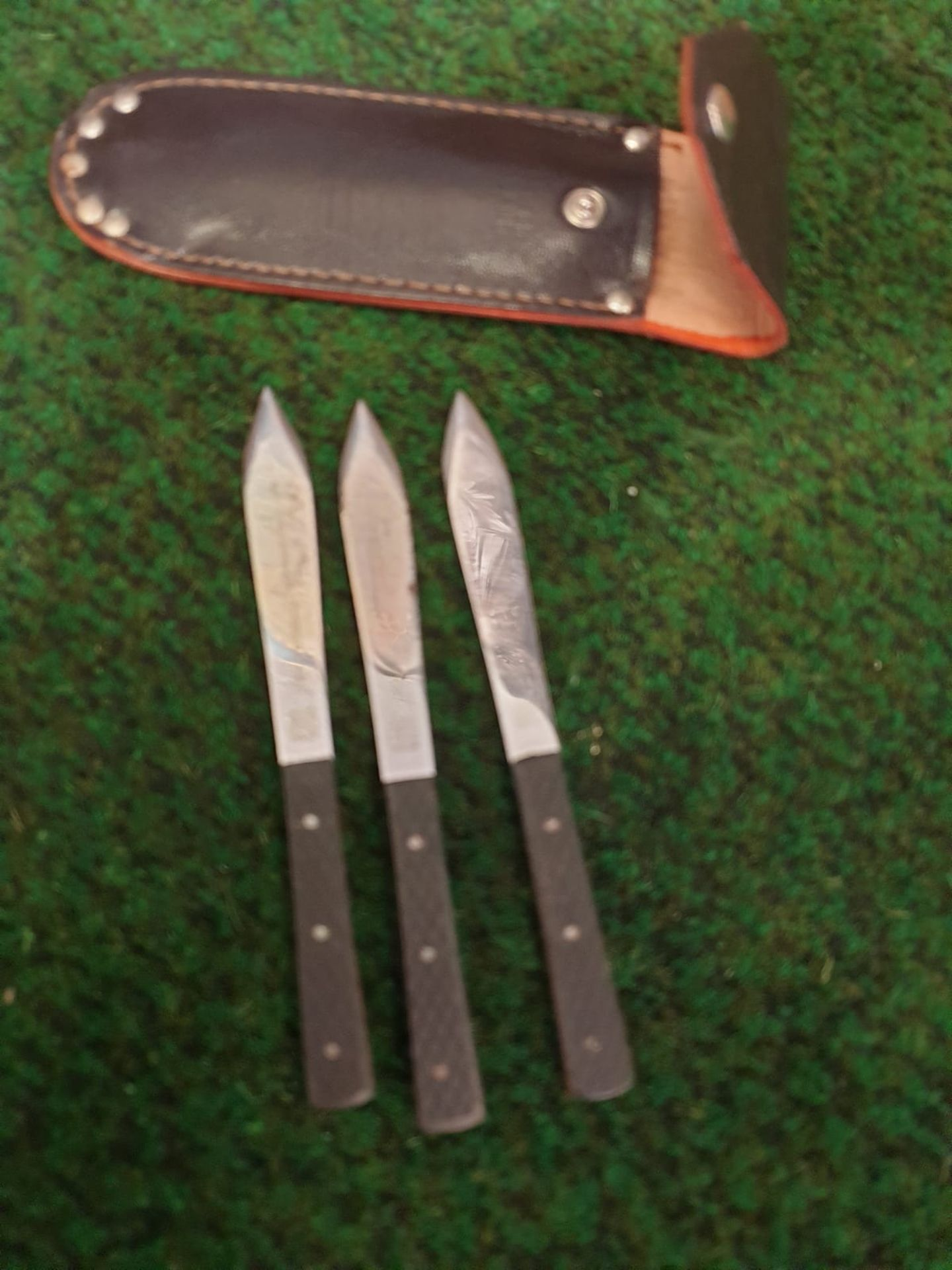 A set of three English stainless steel throwing knives in leather folding case of typical shape - Image 2 of 5
