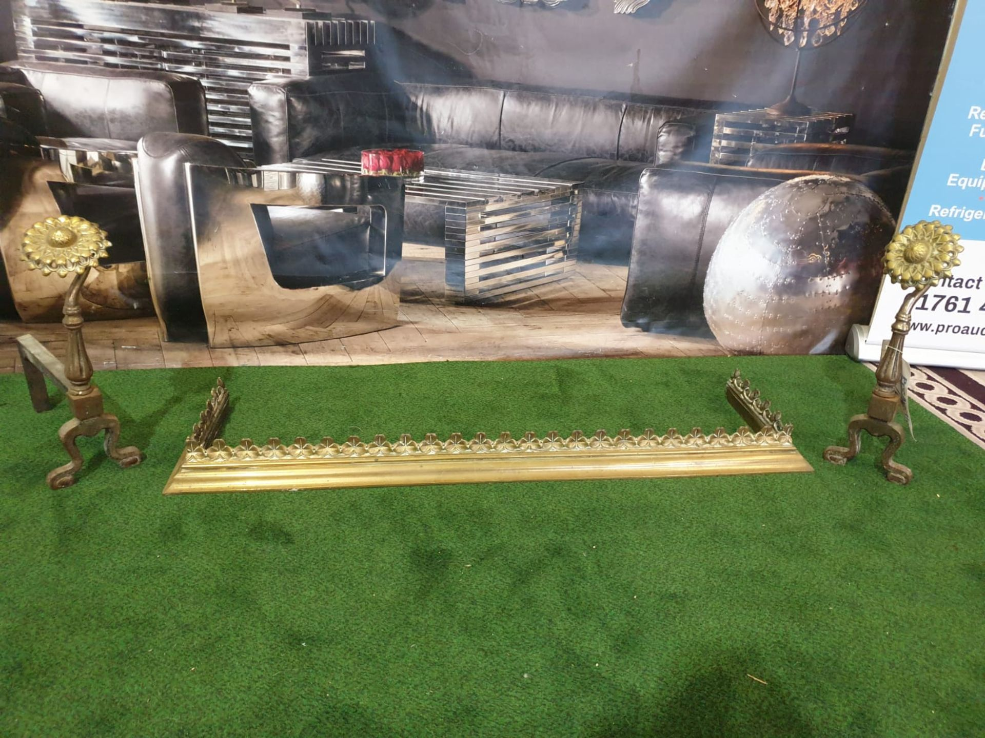 A Brass fire guard 121 x 31cm and two fire andrions - Image 2 of 5