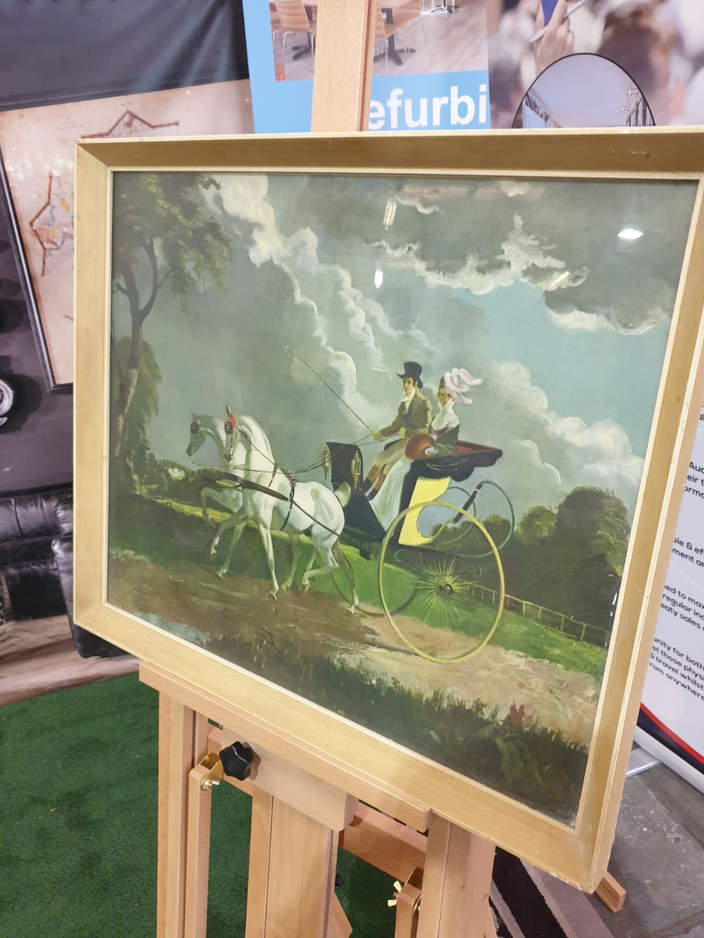 Framed coloured print In Regency Times, (Regency Figures, Horse and Carriage, in a City Street)After - Image 2 of 4
