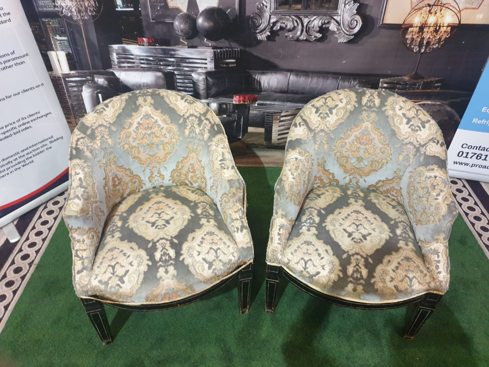 A Pair of Neoclassical / George III style Tub Chairs c. Early 20th Century Each with rounded backs - Image 2 of 3