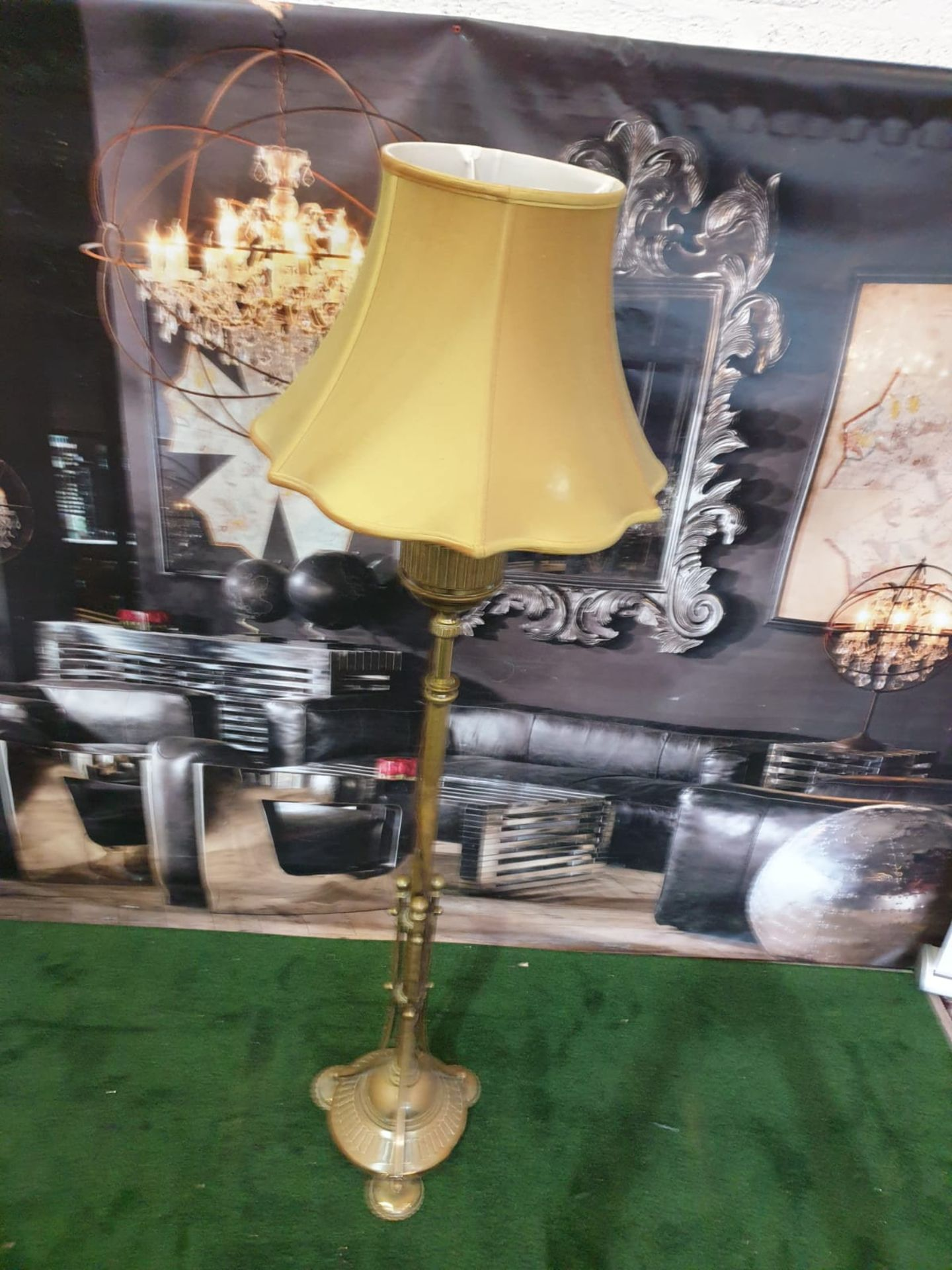 Edwardian Adam Style Brass Standard Lamp with gold coloured shade 165cm high - Image 2 of 4