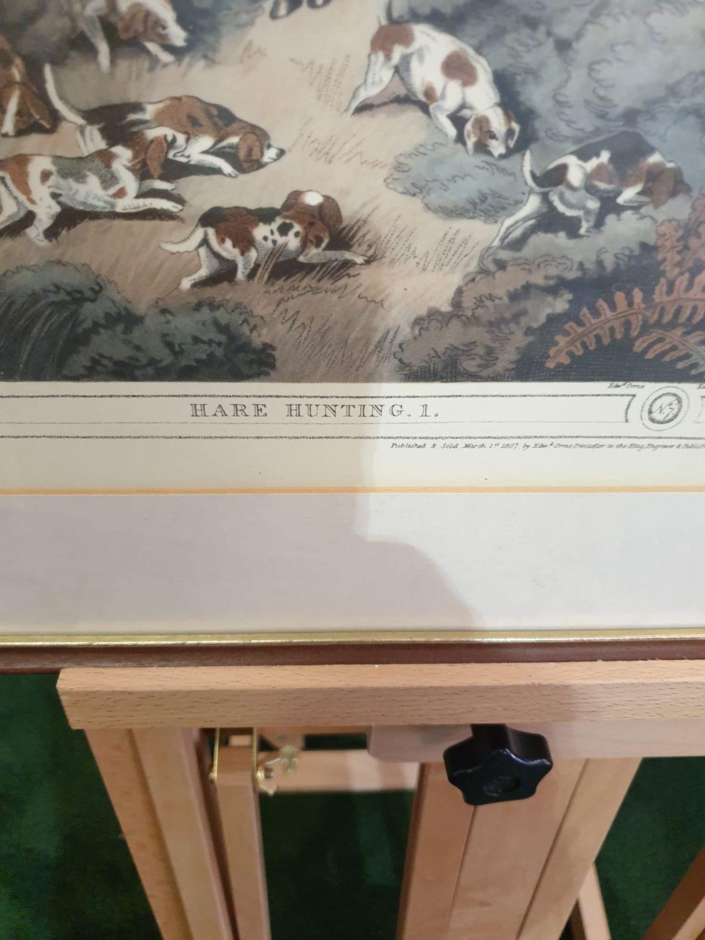 Framed Coloured print Hare Hunting 1 La Chasse au Lievre After William Samuel Howitt (1756 – - Image 3 of 6