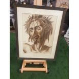 Drawing wash attributed to Michail Semiovitch Rodionoff 1885-1956 Christ with crown of thorns c.
