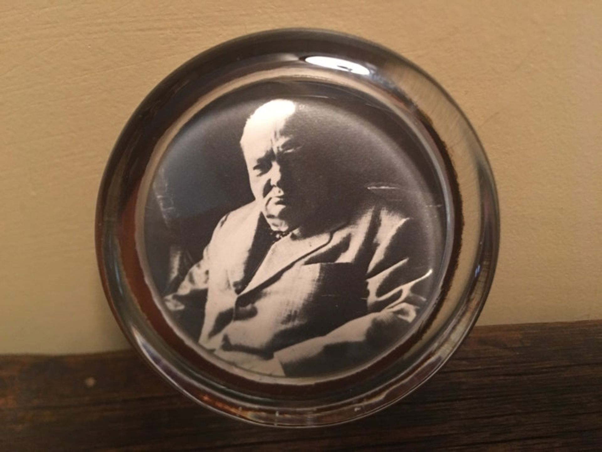 """Vintage Winston Churchill Glass Paperweight Measures approximately 2 3:4"""" Very nice vintage"""