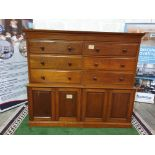 A late Victorian / early Edwardian mahogany chest combined chest of drawers and cupboard. The