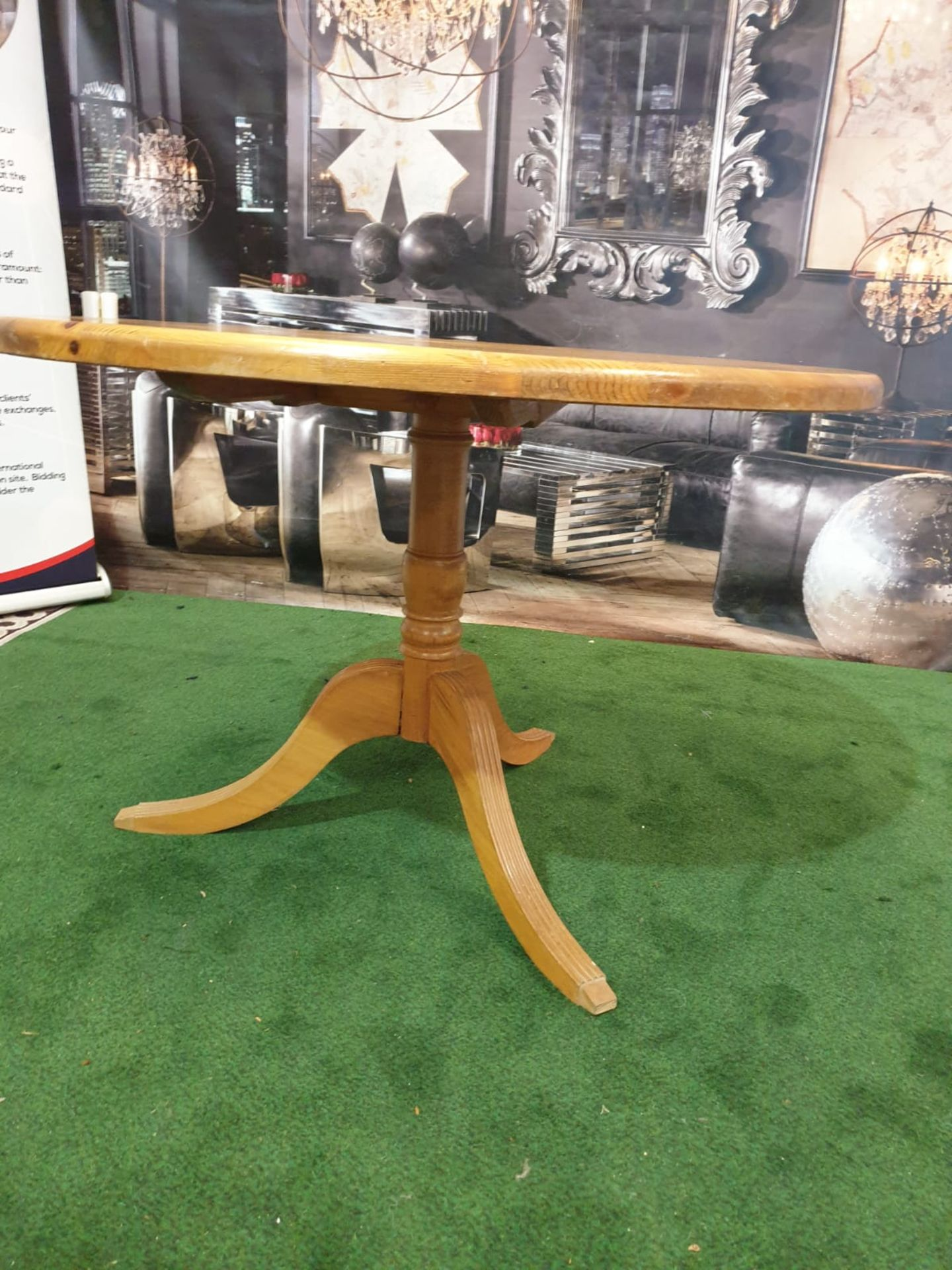 Round Dining Table in Repurposed Pine with Antique Pine Pedestal The table's pedestal, which is - Image 3 of 3