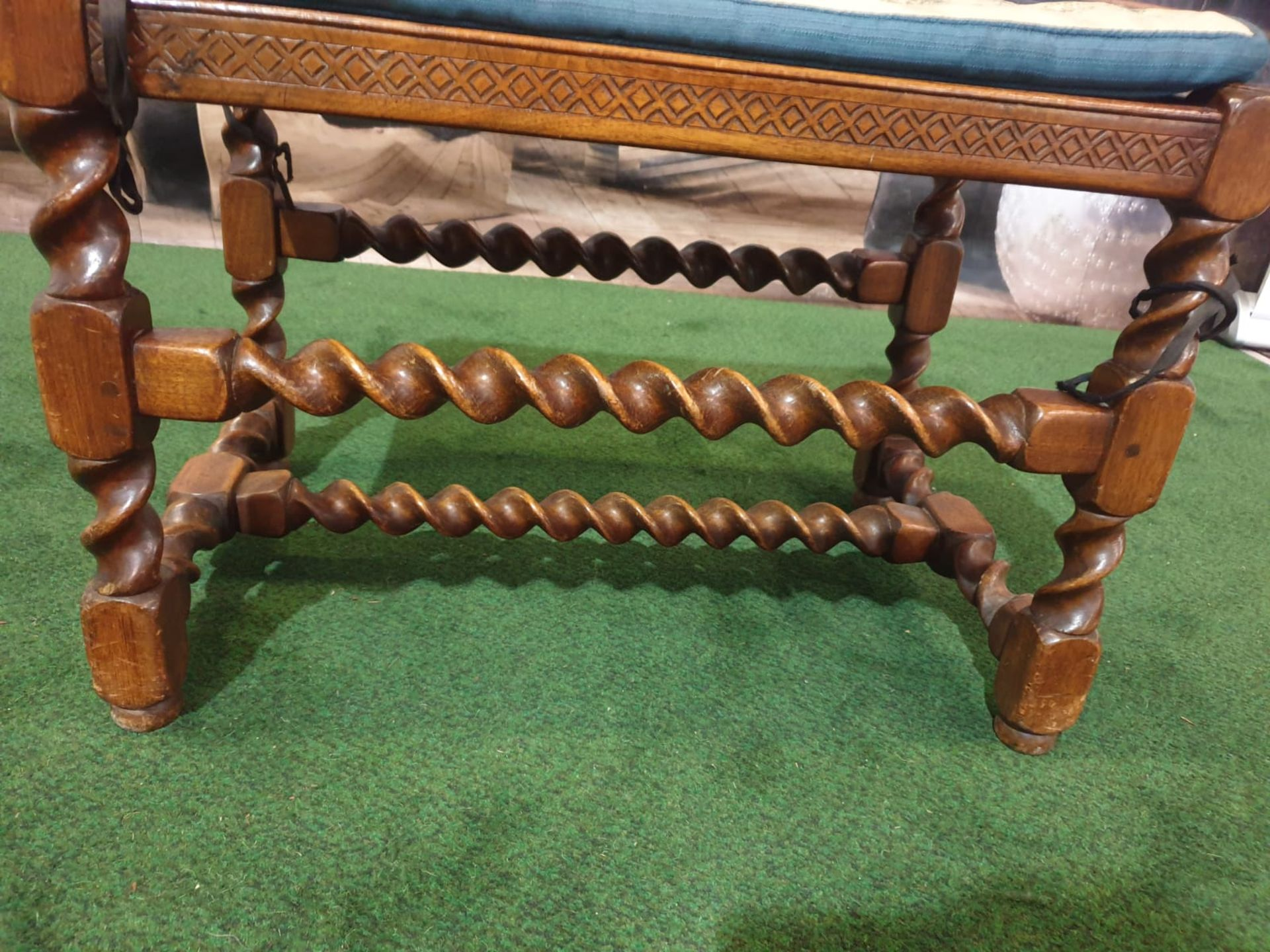 A walnut dressing stool. The oblong cushioned seat over a diaper-incised rail on twist-turned and - Image 5 of 6