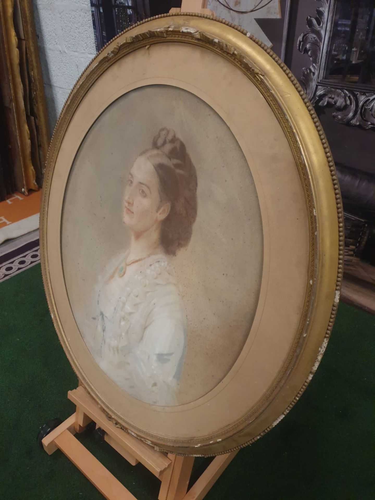 Watercolor painting/drawing of lady in white gown Oval Watercolor painting /drawing of coiffured - Image 6 of 6