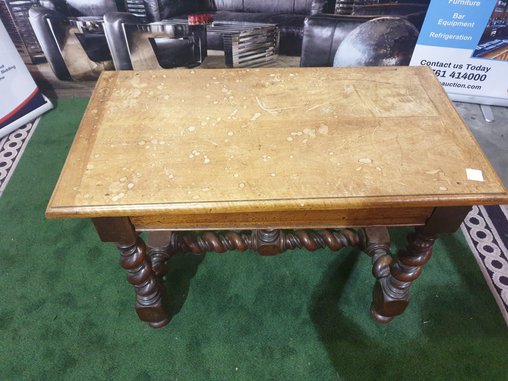 A Spanish 17th century style walnut side table. The faded cleated twin plank top above a drawer, - Image 2 of 4