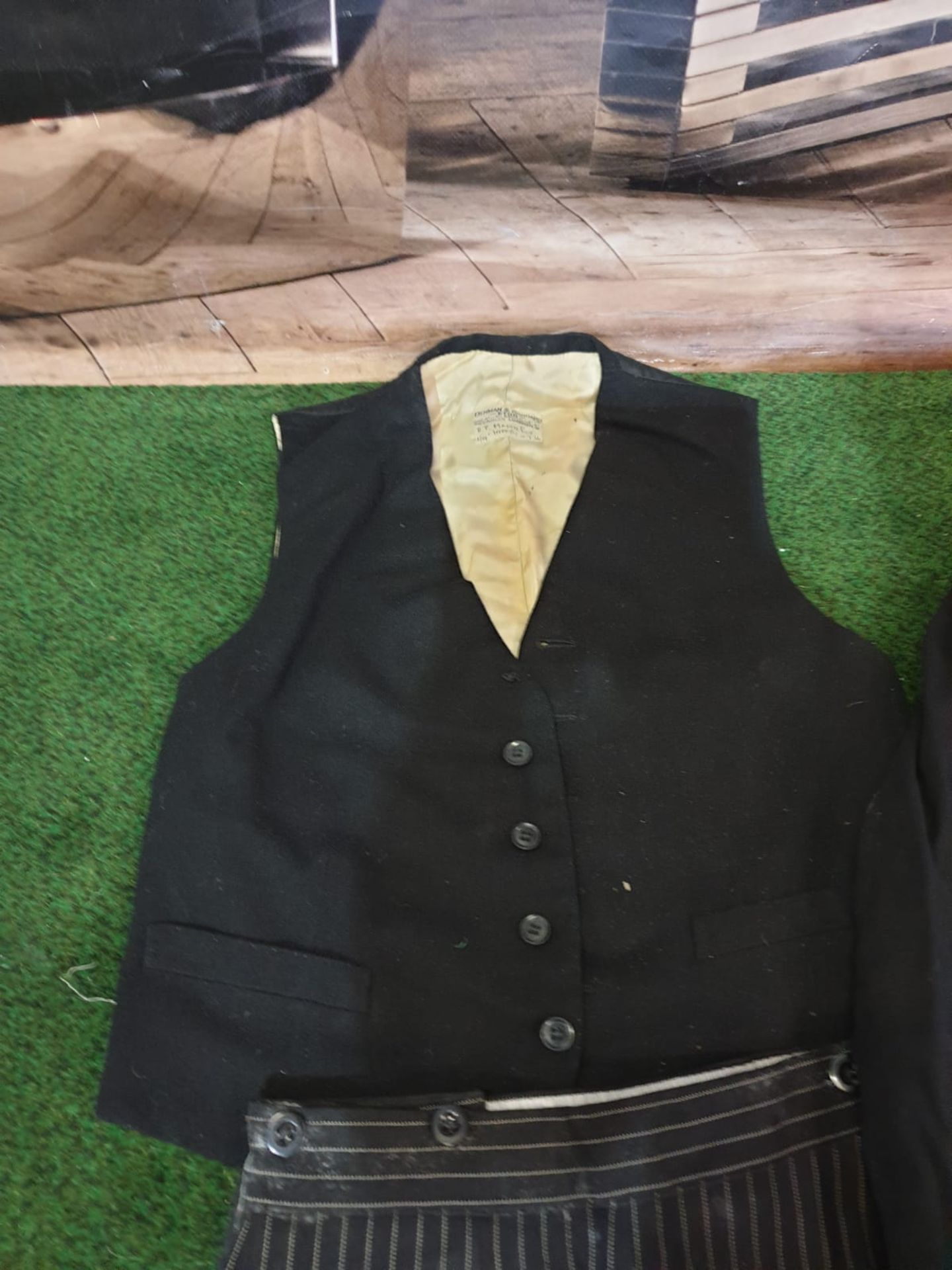 A Denman and Goddard Ltd 3 piece Eton suit consists of morning tailcoat, 2 x waistcoats and 2 x - Image 4 of 5