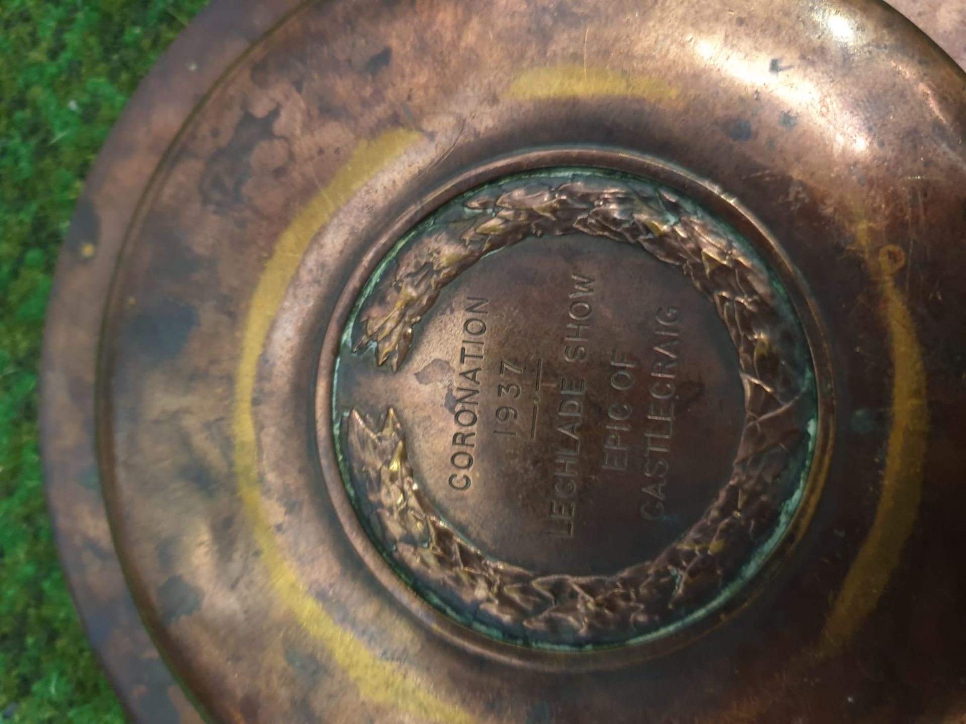 2 x Brass commemorative plates stamped on reverse Coronation 1937 Lechlade Show Epic of Castlecraig, - Image 3 of 7