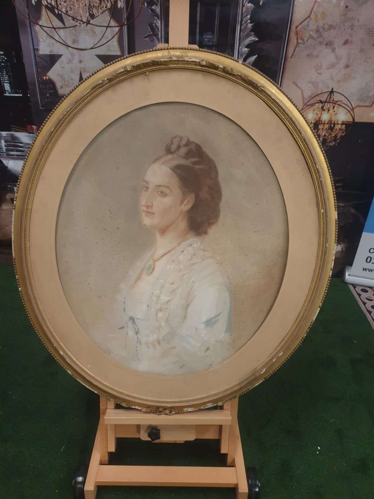 Watercolor painting/drawing of lady in white gown Oval Watercolor painting /drawing of coiffured - Image 2 of 6