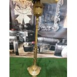 Edwardian Adam Style Brass Standard Lamp with gold coloured shade 165cm high