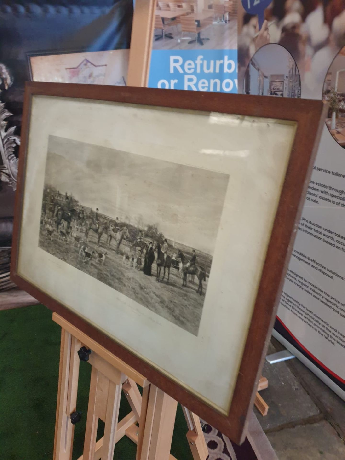 """Hand Stipple Engraving, Hayward Hardy, signed engraving """"Meet of Quorn Hounds at Kirby Gate, - Image 2 of 4"""