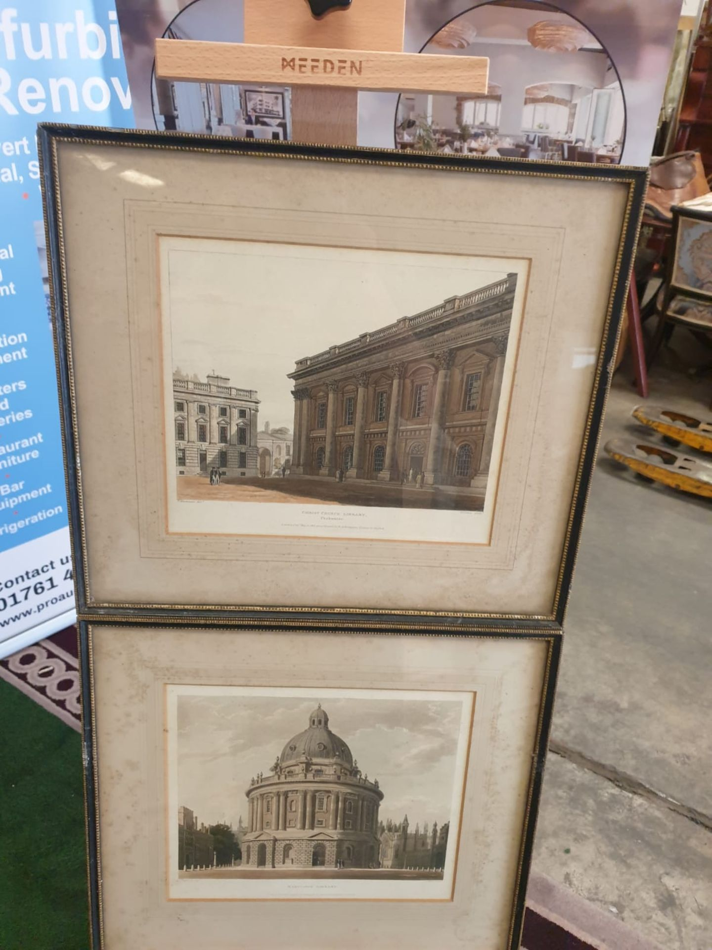 A set of 2 framed Coloured prints Radcliffe Library Oxford and Christchurch library Oxford F C Lewis