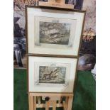 """2 x framed lithographic prints Running for """"A Ring"""" Lithograph, hand coloured, c. 1860."""