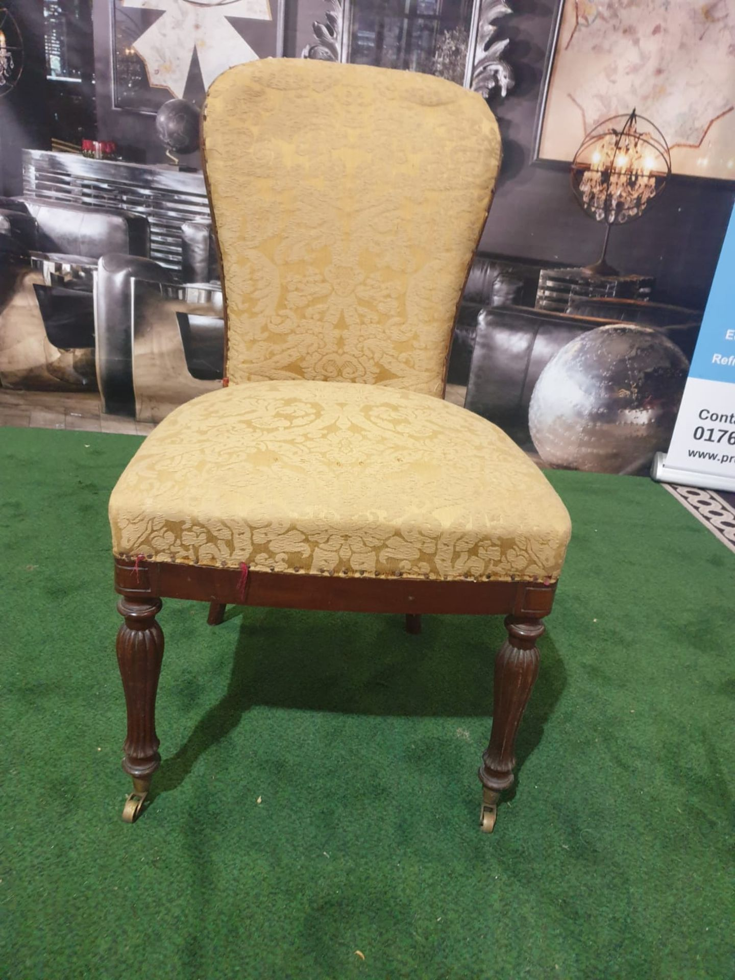 A pair of George III mahogany and upholstered side chairs Each with a rounded shaped padded back and - Image 2 of 4