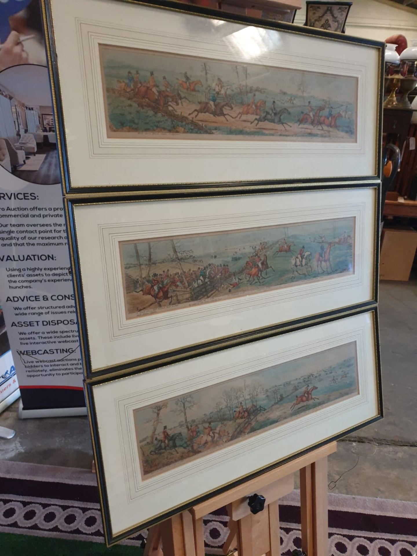 A set of 3 framed coloured panorma Hunters prints titled Lets take the road, Excersive polite, A - Image 2 of 6