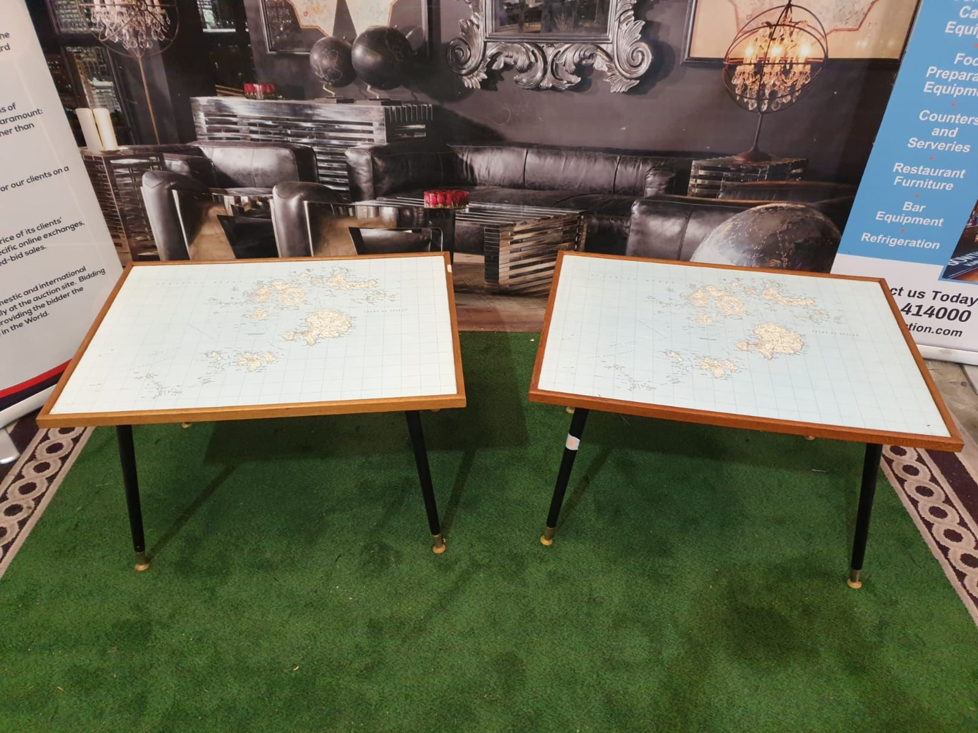 3 x Coffee tables the tops of old school maps of Scilly Isles 82 x 62 x 50cm