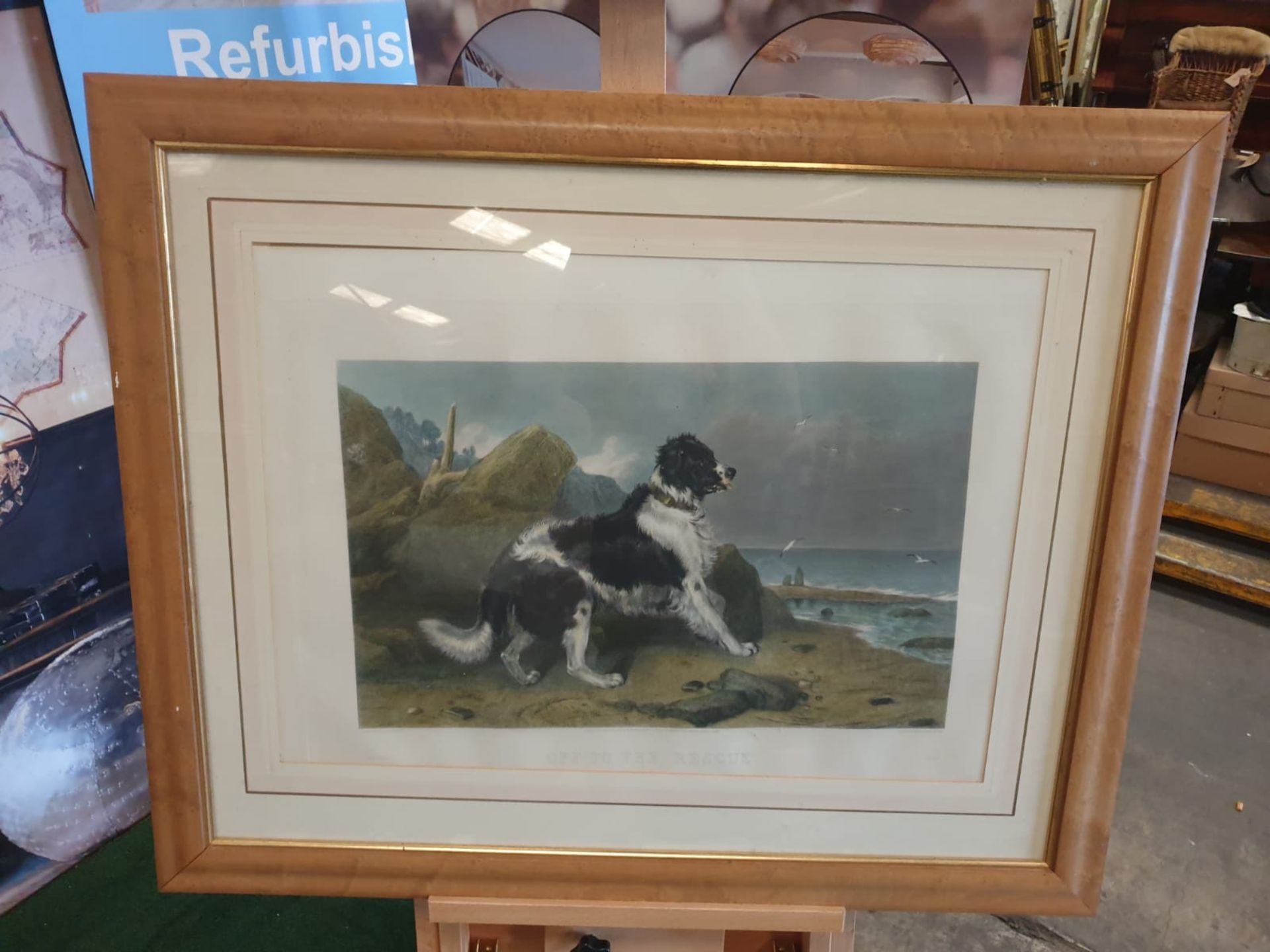 Hand coloured Engraving, Framed LUCAS ALFRED After Sir Edwin Landseer, 'off To The Rescue', 85 x - Image 4 of 5