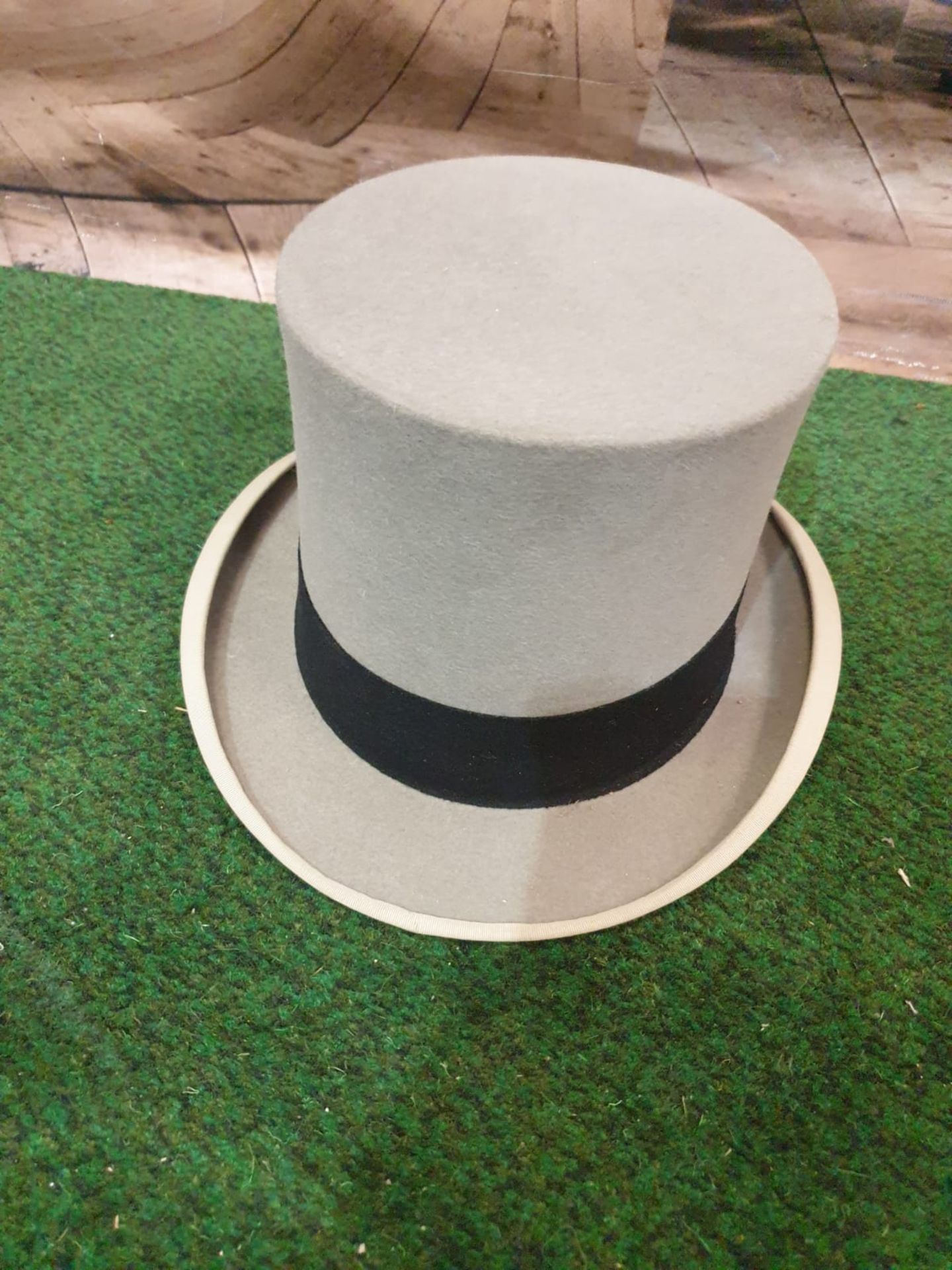 A Hillhouse and Co. of 11 New Bond Street, London, grey top hat in original hat box
