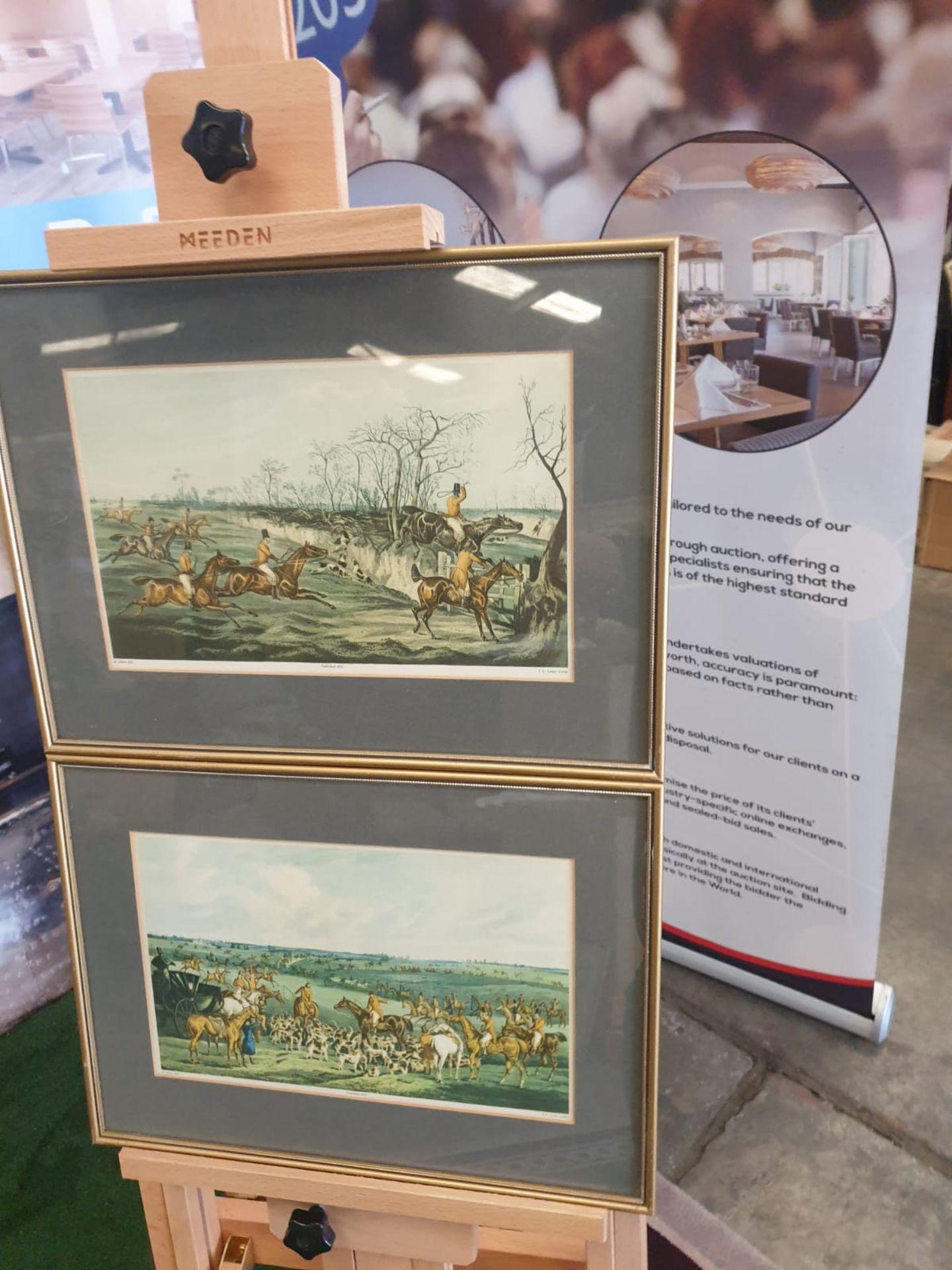 """A set of 2 framed coloured prints THE MEET"""" 1835 Hunting H. Alken Delt. F.C Lewis Sculpt. 44 x - Image 3 of 3"""