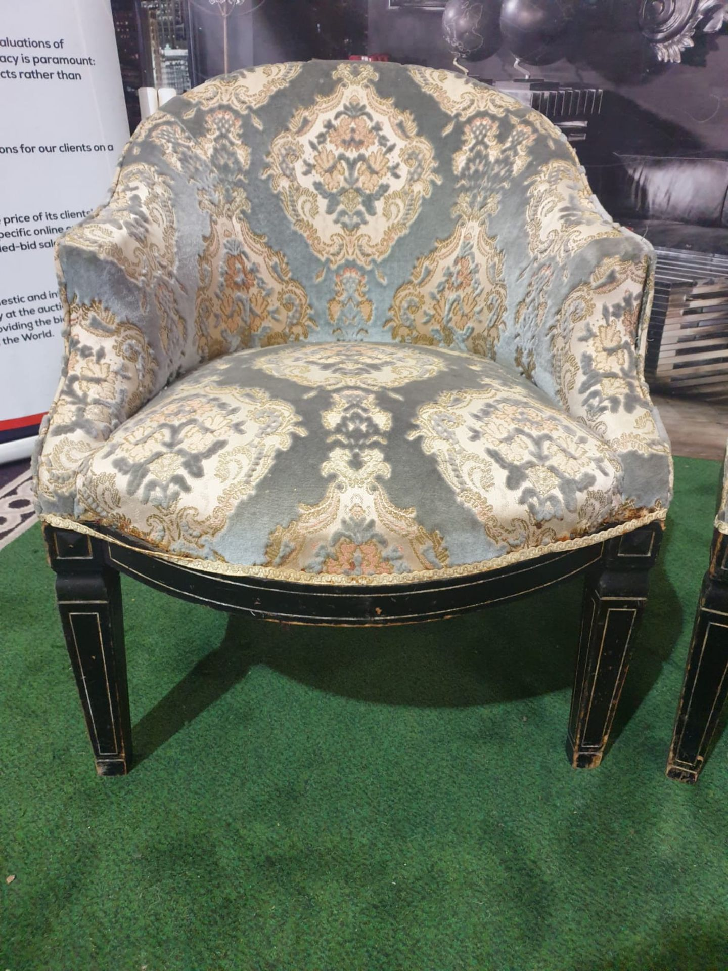 A Pair of Neoclassical / George III style Tub Chairs c. Early 20th Century Each with rounded backs - Image 3 of 3