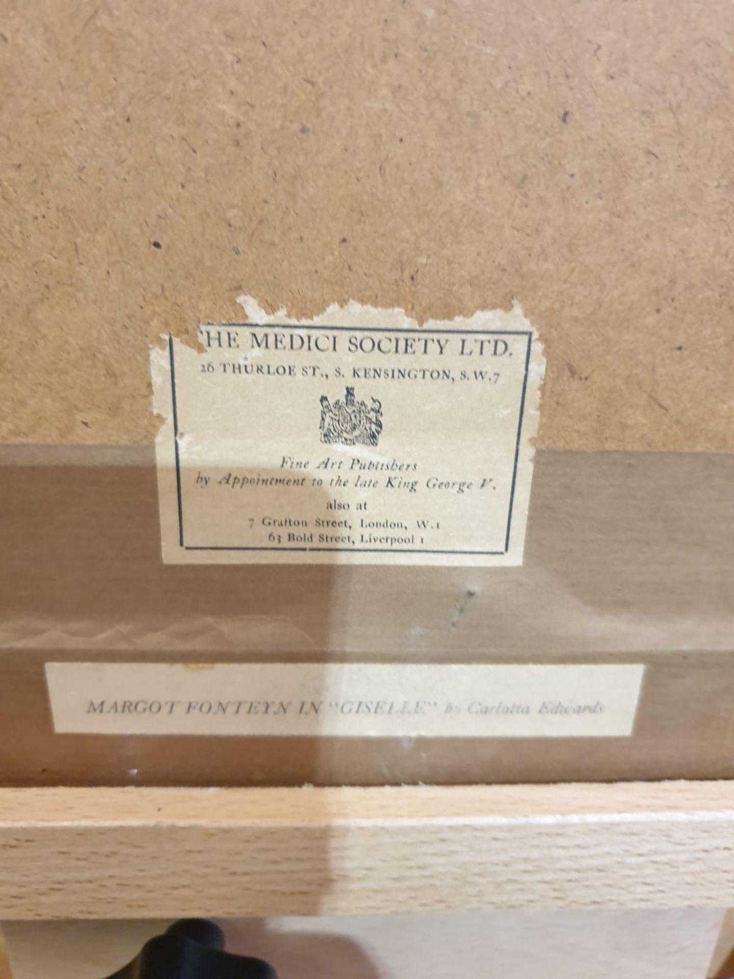 Margot Fonteyn in Gisselle. Coloured print. After Carlotta Edwards [British 1894-1977] Height 59 cm; - Image 3 of 3