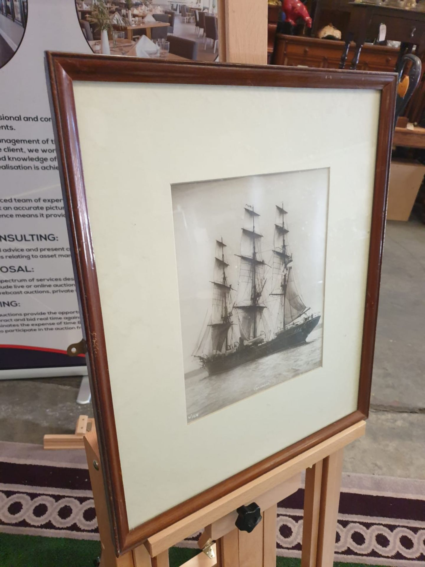 Sailing vessel Valhalla. Photograph. Initialled and numbered lower left, titled to the centre and