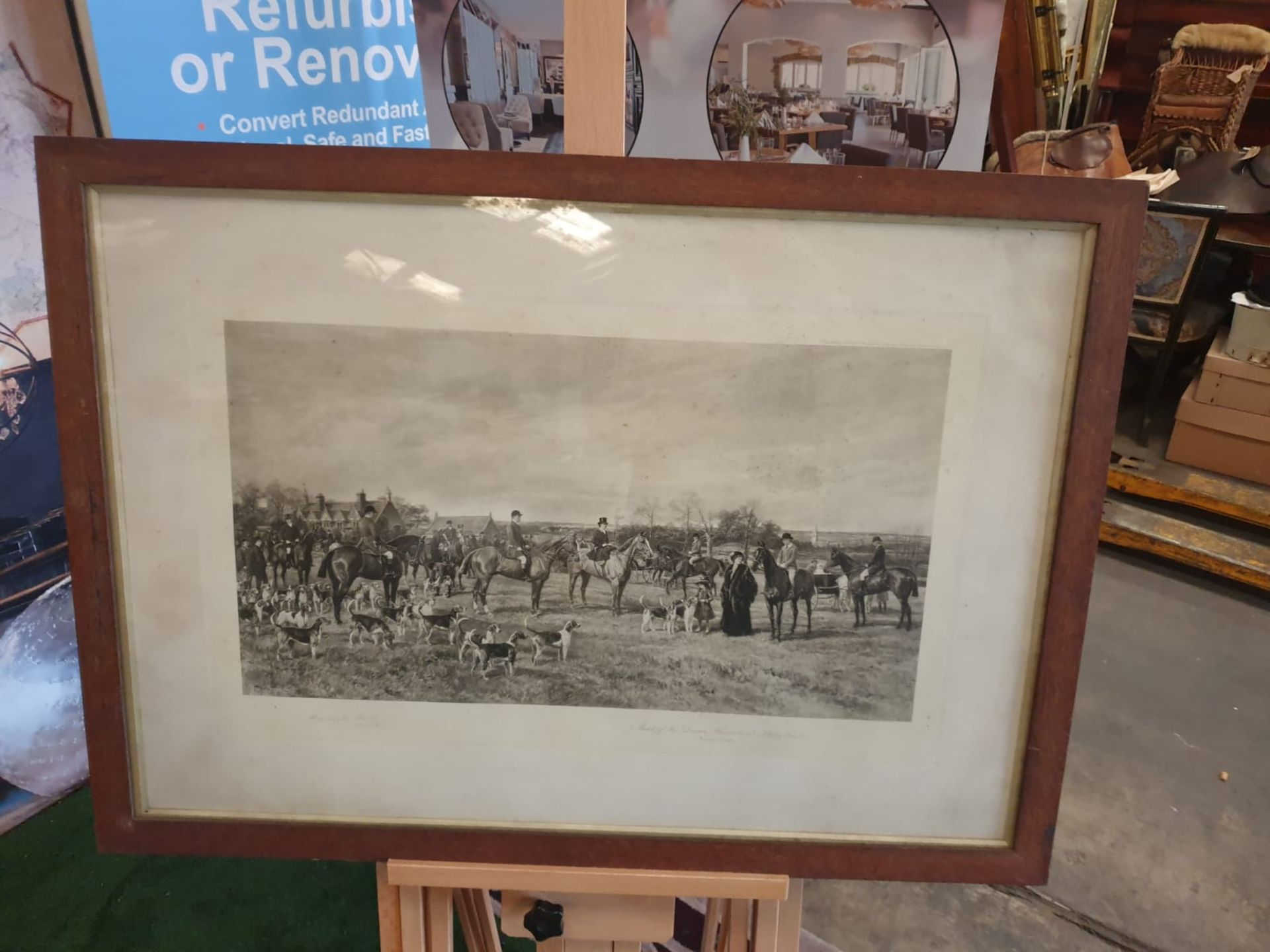 """Hand Stipple Engraving, Hayward Hardy, signed engraving """"Meet of Quorn Hounds at Kirby Gate,"""