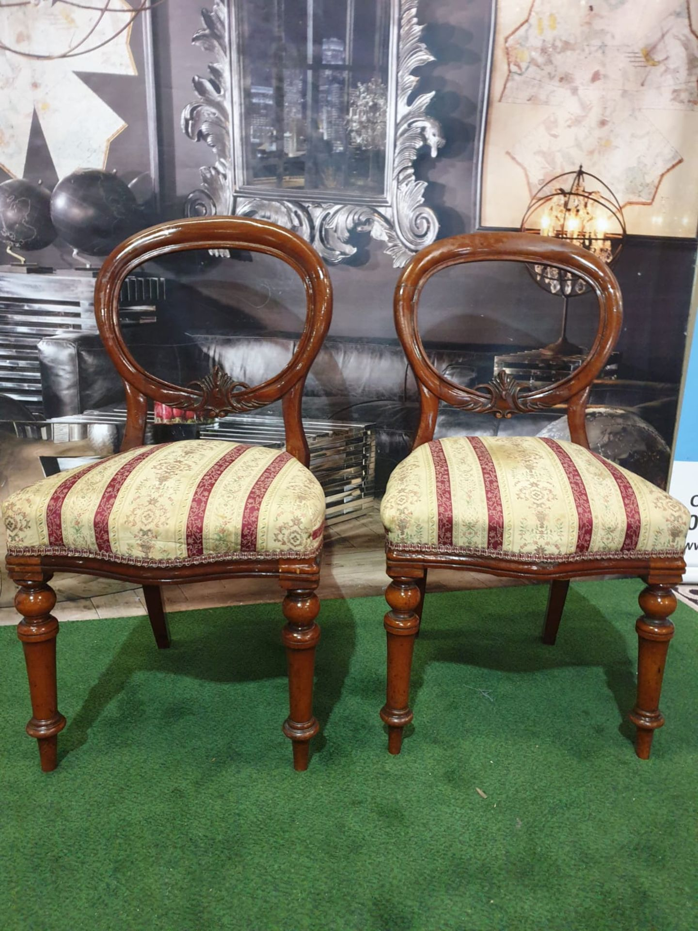 A pair of Victorian mahogany balloon back chairs. The moulded backs with carved aprons, the - Image 4 of 5