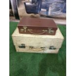 2 x vintage Circa 1950s cases white with monogram PC 48 x 32 x 22cm and one brown with monogram