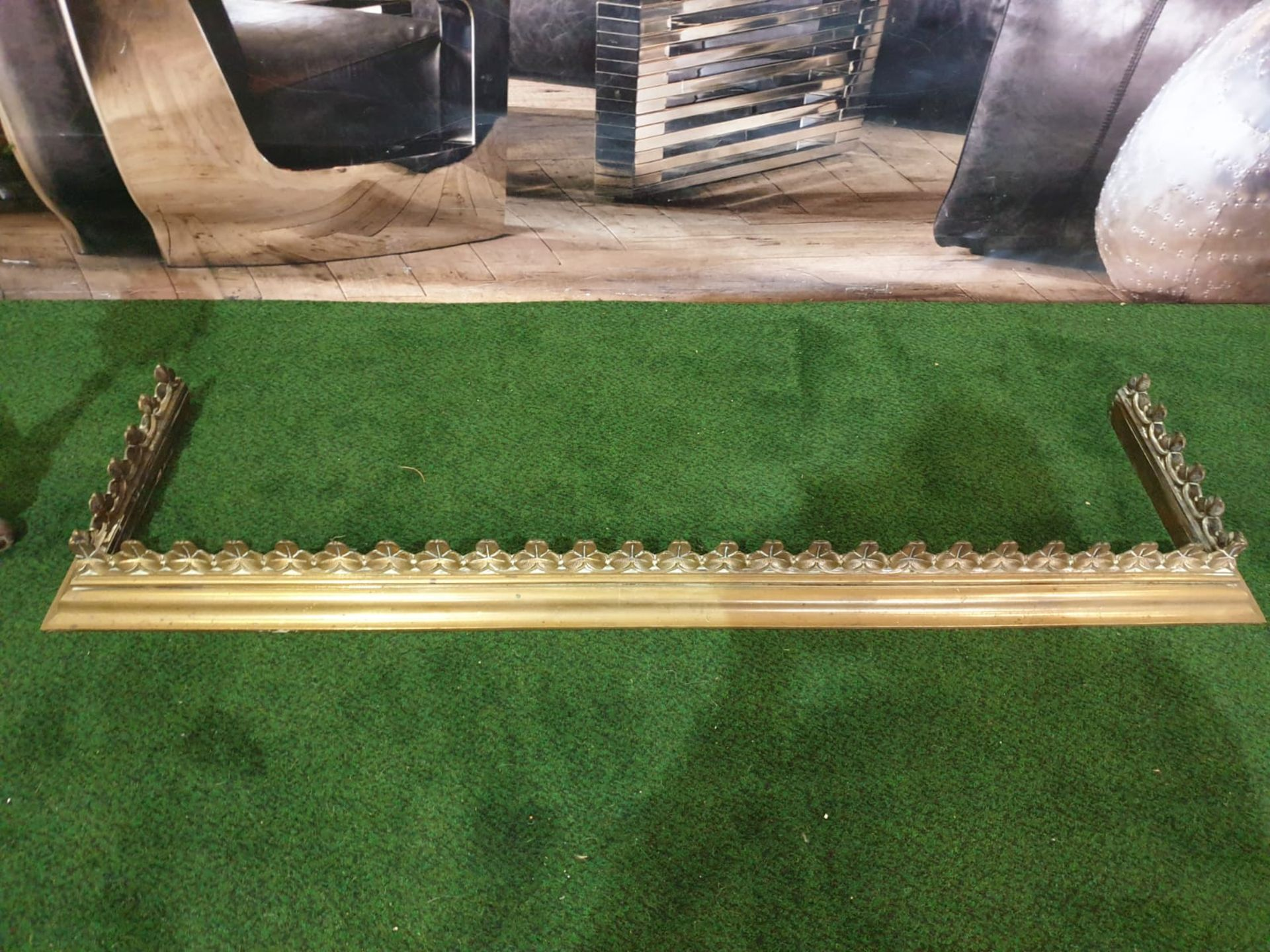 A Brass fire guard 121 x 31cm and two fire andrions - Image 3 of 5