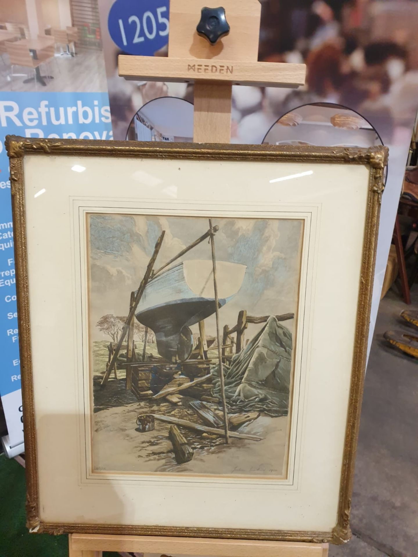 Julian Leathart 20th Century mixed media painting of boat in boatyard c. Circa 1950 This Drawing - Image 3 of 3